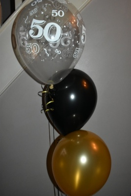 50th Black and Gold Helium Balloons