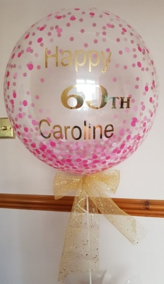 Personalised Bubble Balloon Pink Confetti Birthday