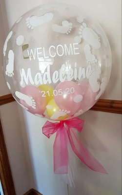 Personalised Baby feet Bubble Balloon