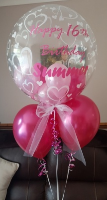 Personalised bubble balloon with extra Helium Balloons
