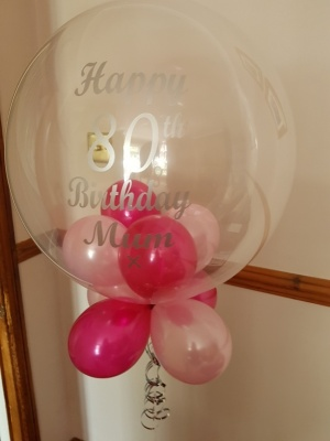 80th Personalised Bubble Balloon, Balloons under and base