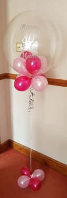80th Mum Personalised Bubble Balloon, Balloons under and base